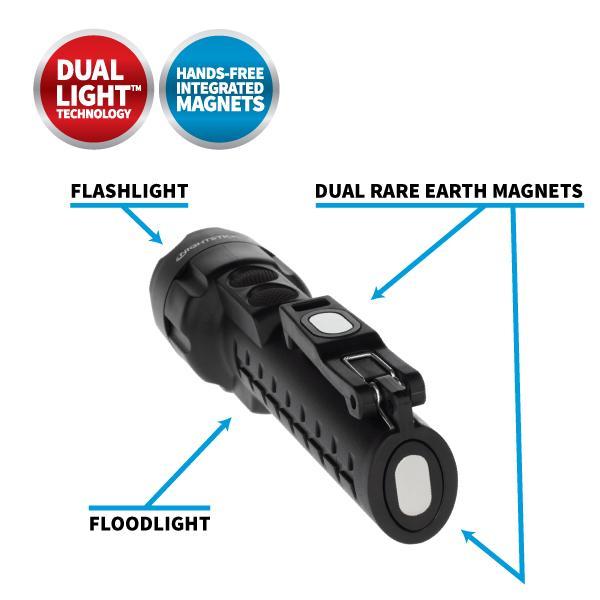 DUAL-LIGHT FLASHLIGHT W/DUAL MAGNETS